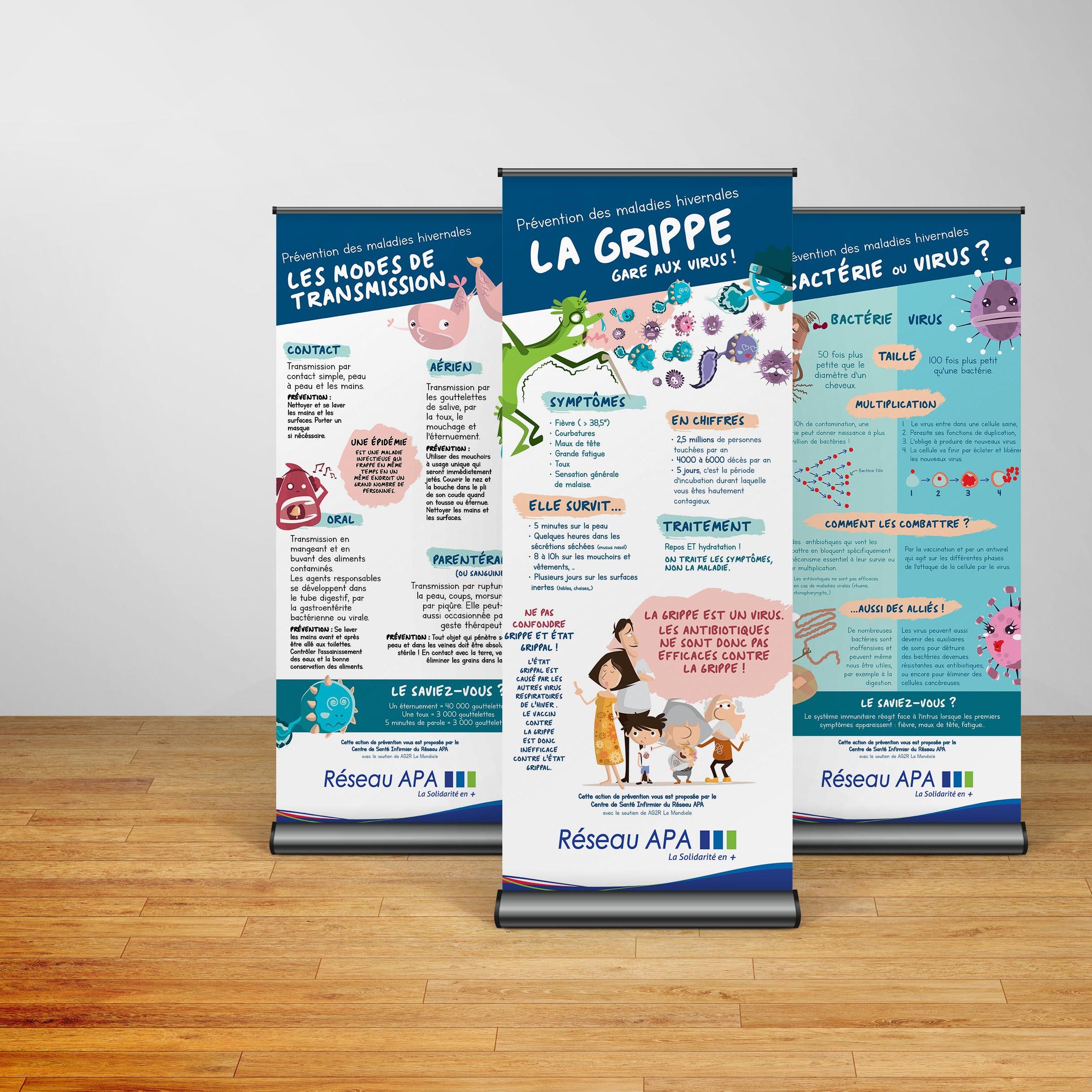 APAMAD • Roll-Up message de prévention contre les maladies saisonnières