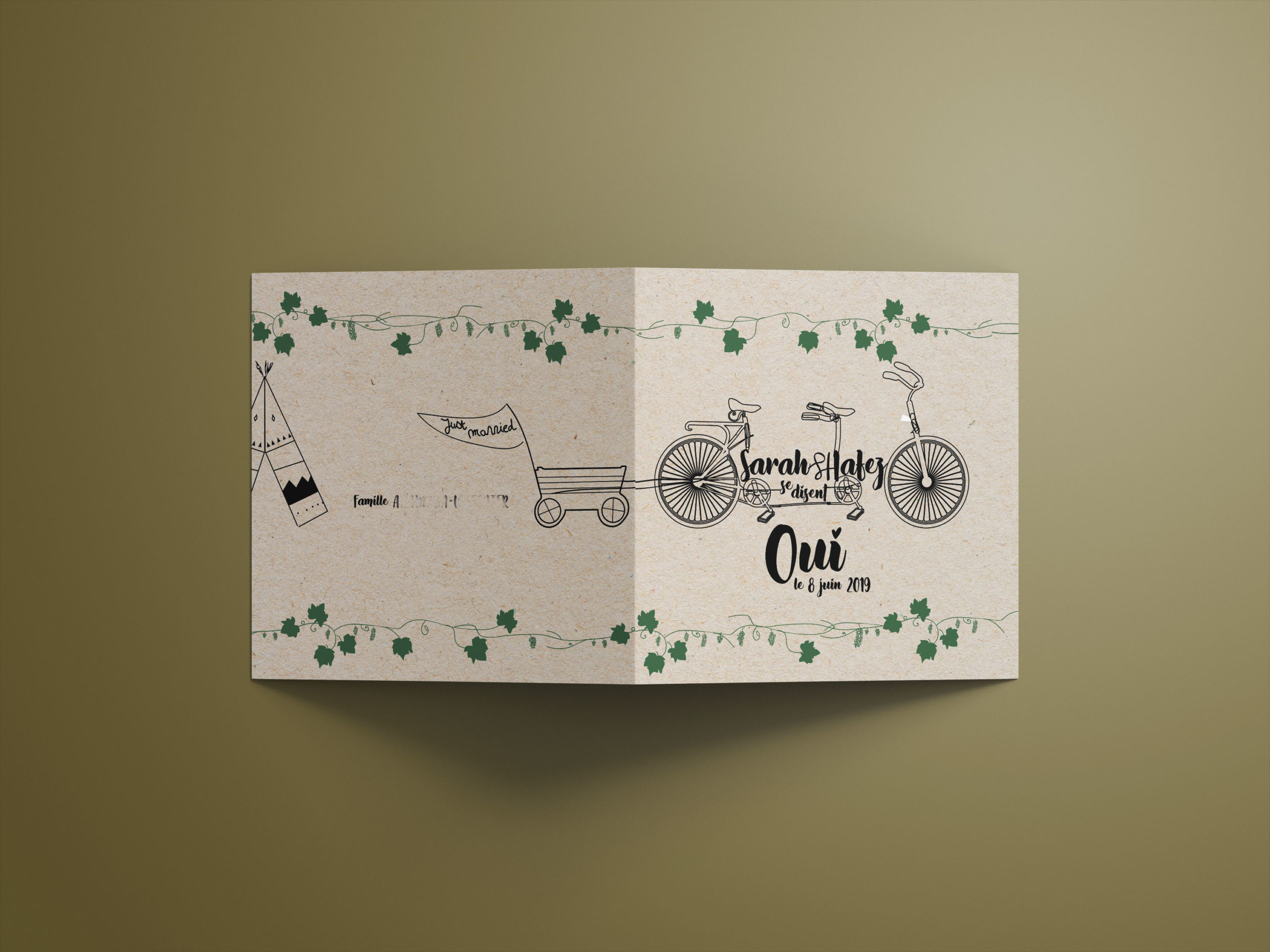 PARTICULIER • Carton dépliant faire-part de mariage