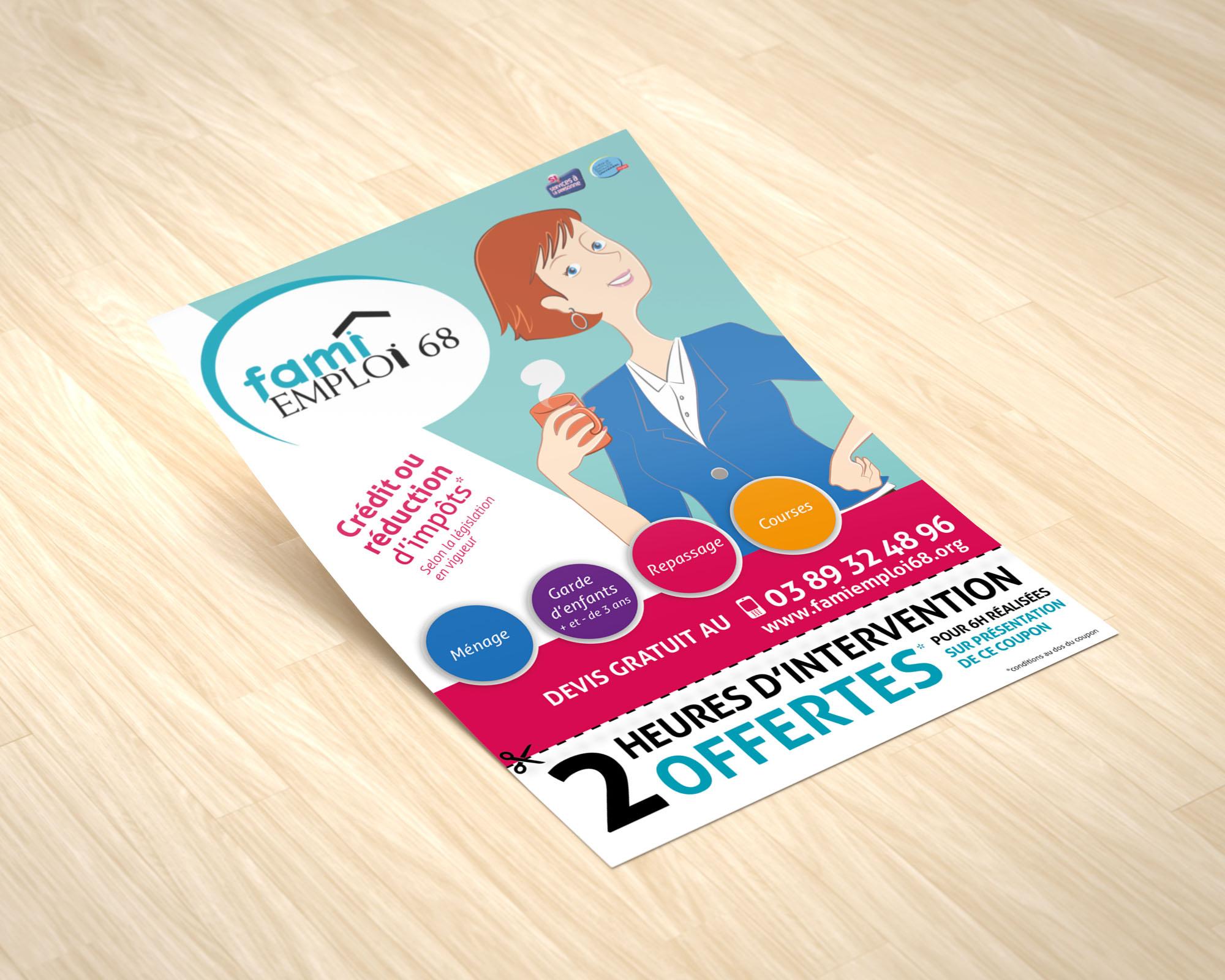 FAMI EMPLOI 68 • Flyer services de ménage et garde d'enfants à domicile